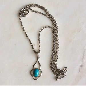 Necklace with silver chain and turquoise pendant